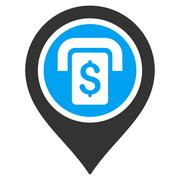 ATM Map Marker Flat Vector Icon Stock Illustration