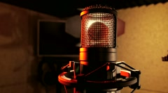 Music microphone in the recording studio Stock Footage
