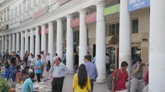 People shopping on  Connaught Place,New Delhi,India Stock Footage