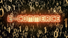 Golden E-Commerce concept with digital code - stock footage
