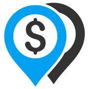 Dollar Bank Markers Flat Vector Icon - stock illustration