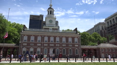 4K Tourists Swarm Streets Outside Independence Hall Philadelphia Time Lapse ED Stock Footage