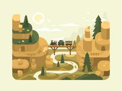 Railway flat design Stock Illustration