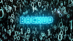 Bluish Backup concept with digital code Stock Footage