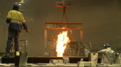 Industrial fire wand molten steel cauldron Stock Footage