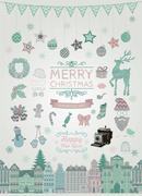 Set of Hand Drawn Artistic Christmas Doodle Icons - stock illustration