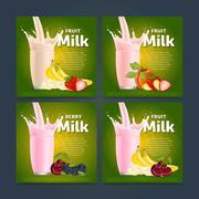 Fruit mix sweet milkshake dessert cocktail Stock Illustration