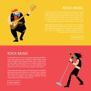 Banners with rock musicians playing instruments Stock Illustration