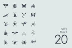 Set of insects icons - stock illustration