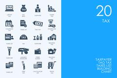 Set of BLUE HAMSTER Library tax icons - stock illustration