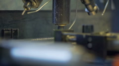 Drilling machine is working very slowly and we can see a few sparks Stock Footage