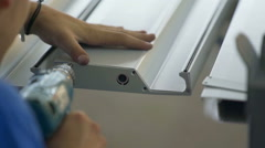 Drilling a hole in a metal rod Stock Footage