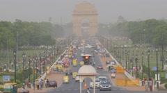 Busy Rajpath road towards India Gate,New Delhi,India Stock Footage