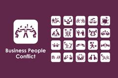 Set of business people conflict simple icons Stock Illustration