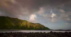 Beautiful time lapse of clouds moving over the island of Molokai, Hawaii. Stock Footage