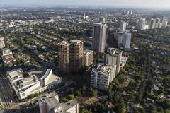 Wilshire Corridor Highrise Towers in Los Angeles Stock Photos