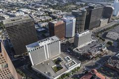 Wilshire Blvd Towers in Los Angeles California Stock Photos