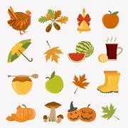 Autumn icon set. Halloween and Thanksgiving day. Flat design Stock Illustration
