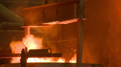 Industrial foundry making molten steel Stock Footage