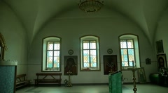Russian window church the orthodox is preparing for baptism slow motion video Stock Footage