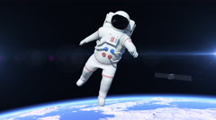Astronaut Flying Over The North Pole Stock Footage
