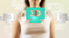 Young female pressing the screen then 3d tv symbol appearing Stock Footage