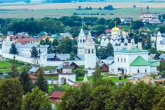 Suzdal City Aerial View with Pokrovsky convent, Russia Stock Photos