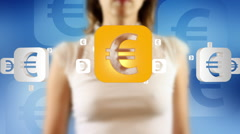 Young female pressing the screen then euro sign symbol appearing Stock Footage