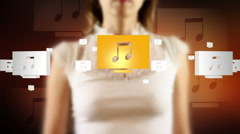 Young female pressing the screen then musical note symbol appearing Stock Footage