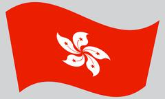 Flag of Hong Kong waving on gray background. The Hong Kong is special adminis Stock Illustration