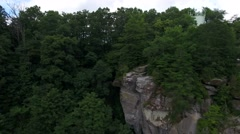 Beautiful mountain aerial views in summer at Caesars Head State Park Stock Footage