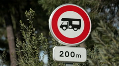 Prohibited sign for caravans, Roussillon, Provence, France Stock Footage