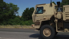 Military Truck On Highway Stock Footage