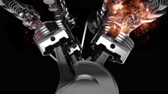 3D animation of a working V8 engine with explosions. Stock Footage