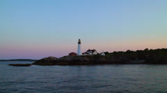 Portland Head Light at Sunset Stock Footage