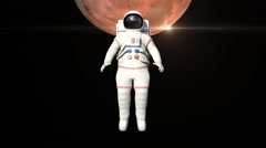 Astronaut On Spacewalk Front Of The Mars Surface Stock Footage