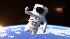 Astronaut Flying Over The North Pole - Close Up Stock Footage