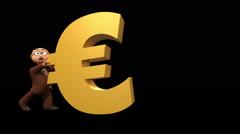 Senior 3D business man struggling with big euro symbol Stock Footage