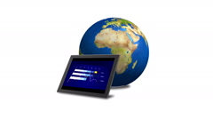 Financial Graphics On Tablet Screen Near Orbiting 3D Blue Globe Stock Footage