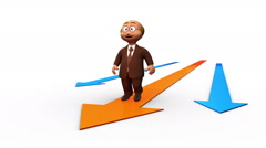 Happy cute business man character walking with arrows Stock Footage