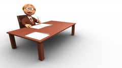 Senior cute 3d business man writing and working Stock Footage