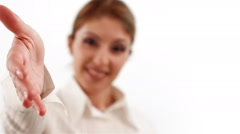 Business Woman Handshaking And Smiling Stock Footage