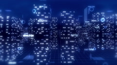 3D financial city flight animation, seamless loop. Blue theme. Stock Footage