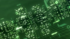 3D financial city flight animation, seamless loop. Green theme. Stock Footage