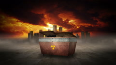 Radiation symbol on trash dumpster. Polluted city. Stock Footage