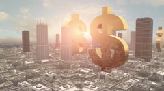 US Dollar Symbol in The Middle of a Metropolitan City Stock Footage