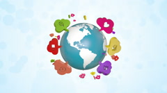 Social Media Icons Around Rotating Globe Stock Footage