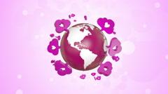 Love Icons Orbiting Around Globe Stock Footage