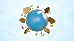 Wireless Symbols Around Orbiting Globe Stock Footage