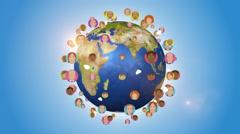 Social Media And People Avatars Orbiting Around Globe Stock Footage